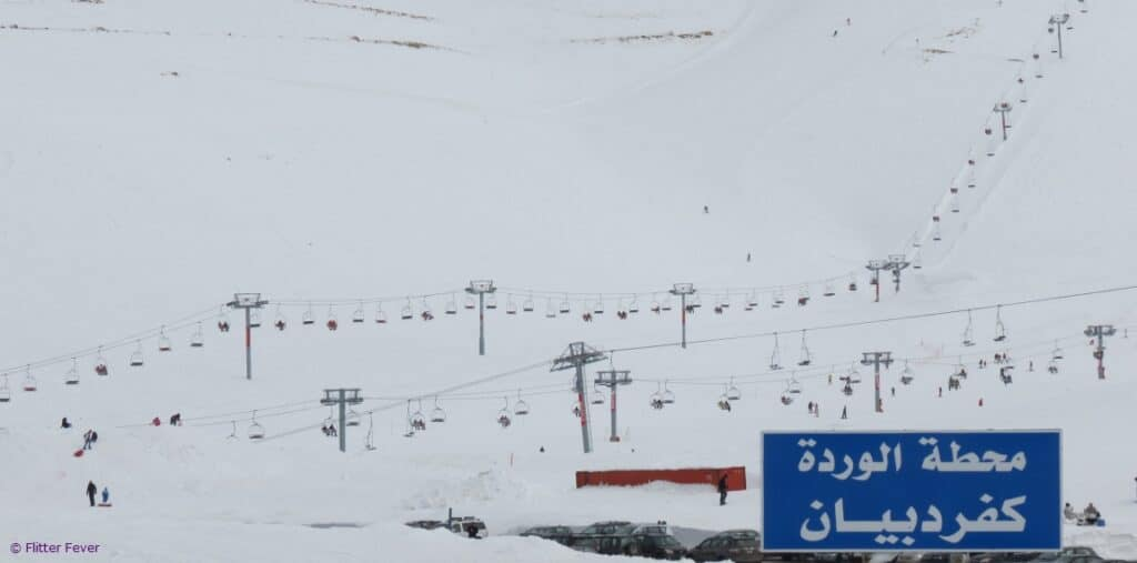 Ski lift Beirut Lebanon mountains snow