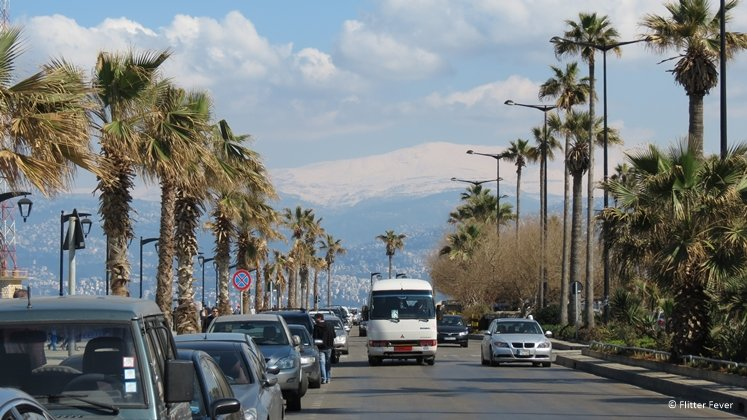 Boulevard in Beirut with mountain on background