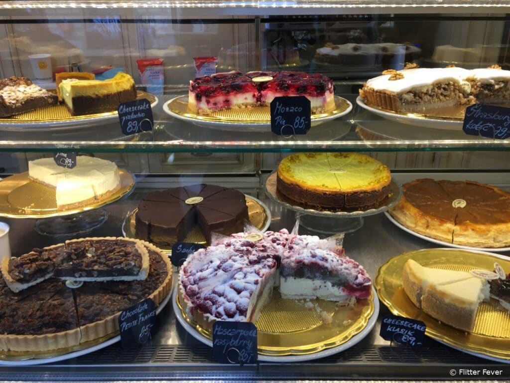 Amazing selection of pies and cakes at Petit France in New Town Prague taart