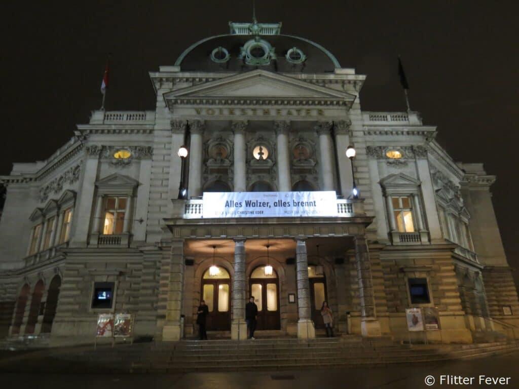 Volkstheater in Vienna Wien Wenen by night