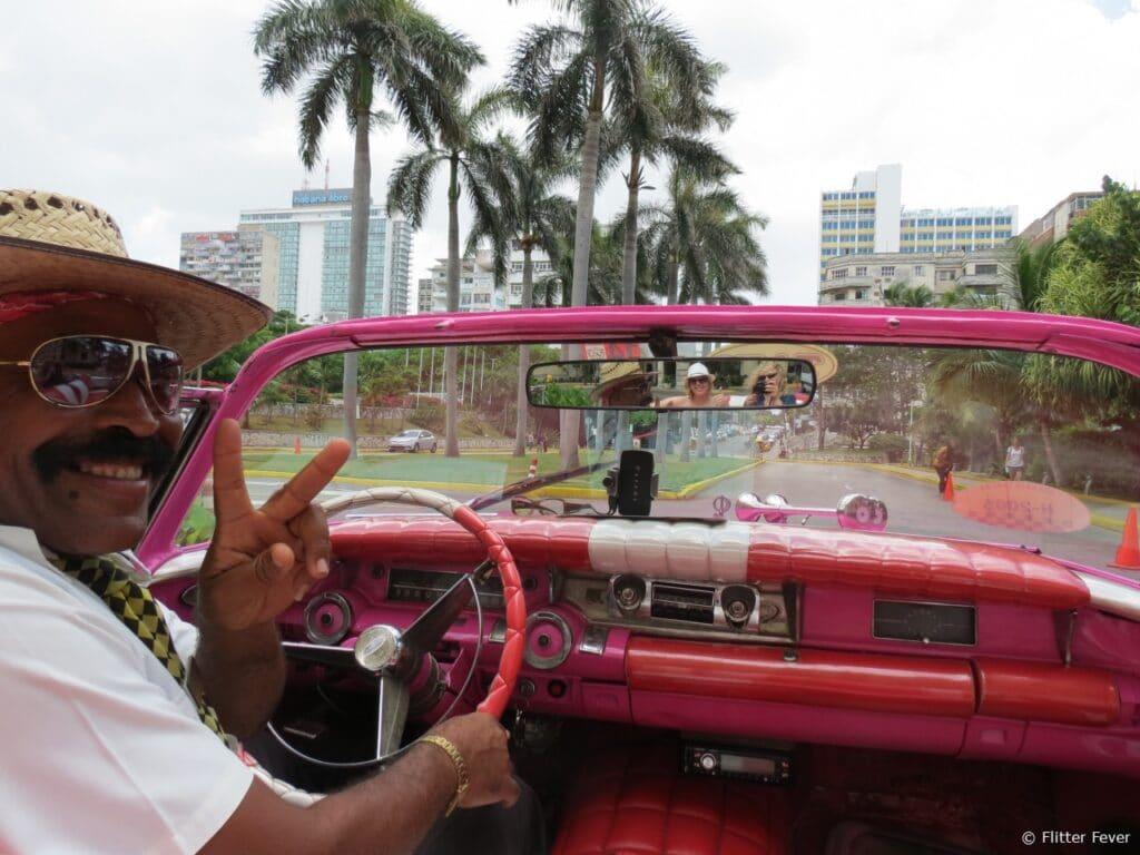 Old timer driver Havana Hotel Nacional Cuba