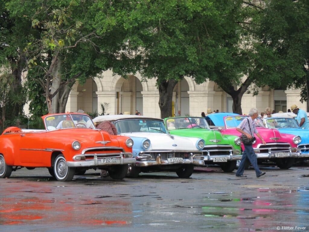 Colorful oldtimer old timer Parque Central Havana Cuba