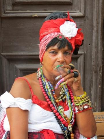 Cuban lady Plaza de la Catedral in Havana