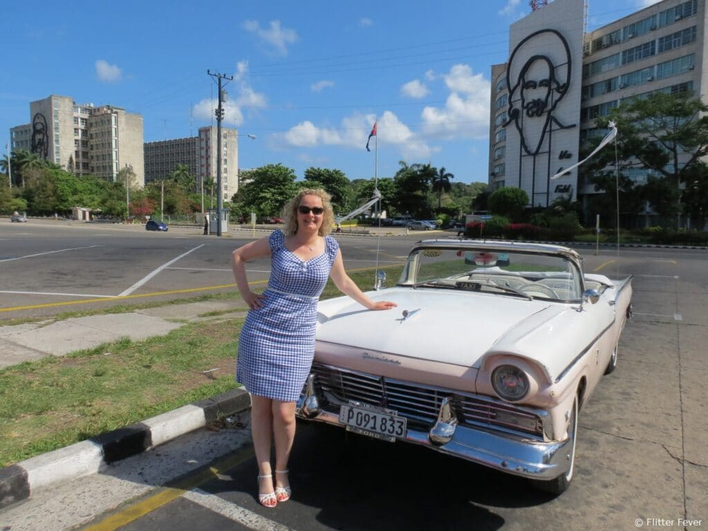 Plaza de la Revolucion Havana Cuba old timer Camilo Cienfuegos