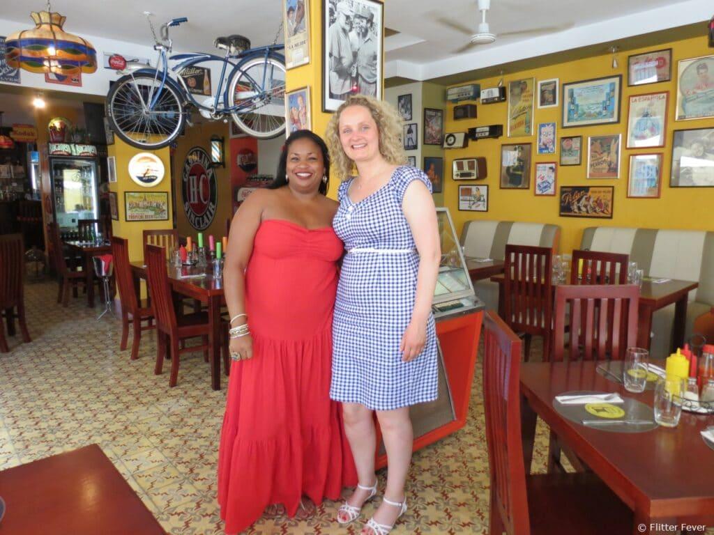 Beautiful Cuban woman bar restaurant La Vitrola Plaza Vieja Havana Cuba