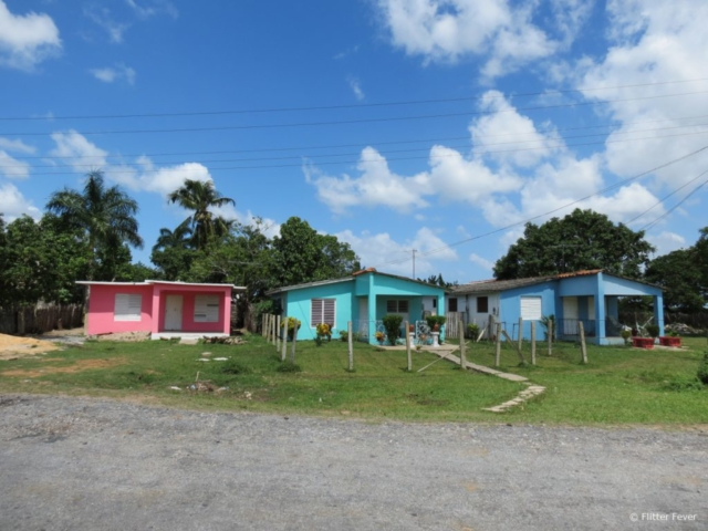 Colorful houses at the countryside of Cuba