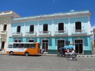 Bright colored bullding in Santa Clara Cuba