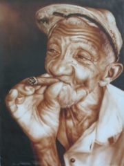 Trinidad art old man smoking cigar