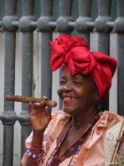 Cuban lady with cigar Havana Cuba