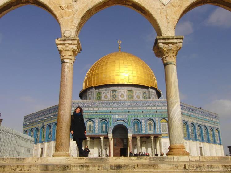 Linda in front of the Al-Aqsa mosque in Israel