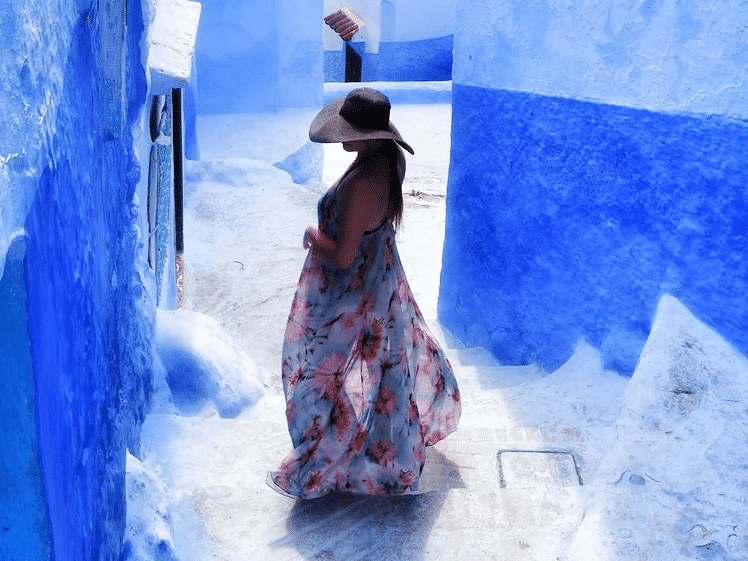 Naomi in the blue city Chefchaouen, Morocco