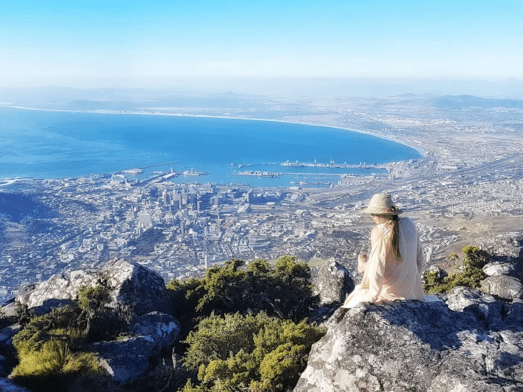 Naomi on top of Table Mountain, Cape Town, South Africa