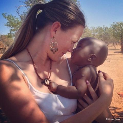 Anja with Himba baby Namibia