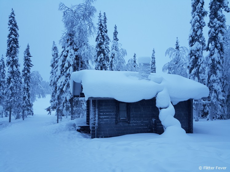 Cute wooden cabin at the lake @ Wolverine Fell, Kittila, Finnish Lapland