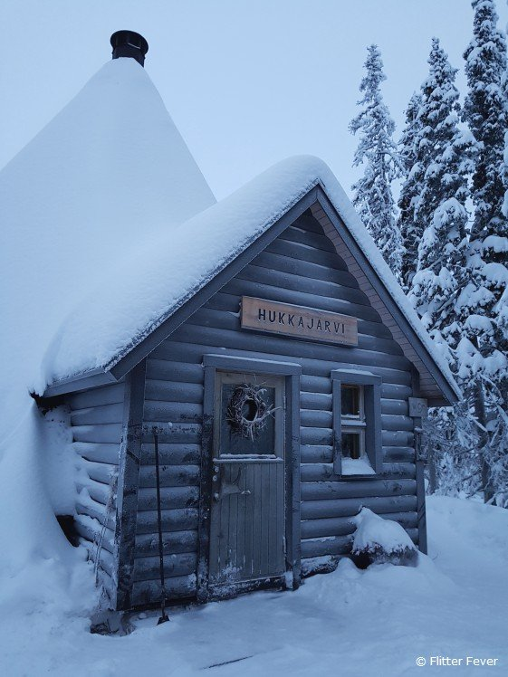 Cute house in the snow Finnish Lapland