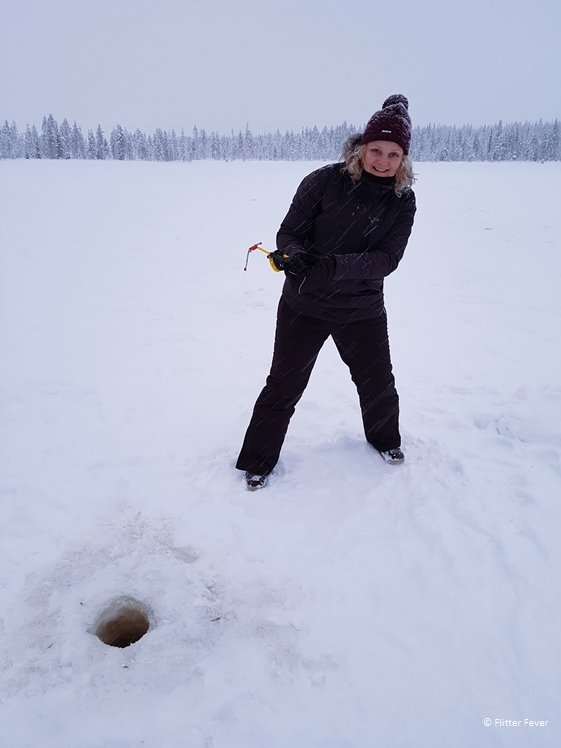 Gone ice fishing in Levi Finnish Lapland