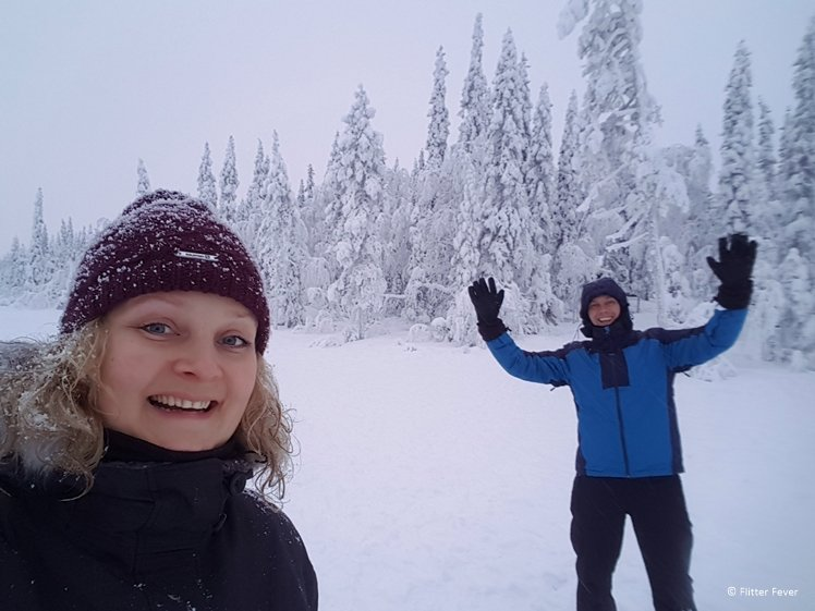 Having fun on the frozen lake