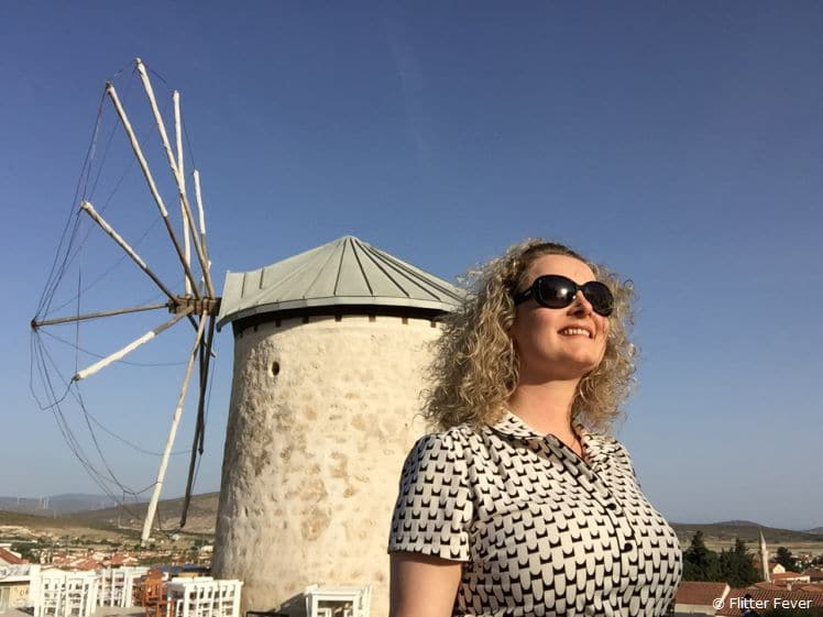 Me @ a traditional wind mill in Alicati, Turkey for work
