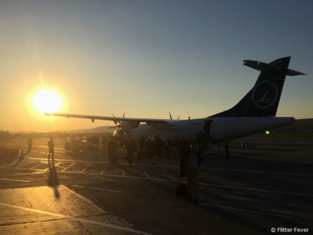 Aircraft & sunset - arrival in Cluj Napoca, Romania