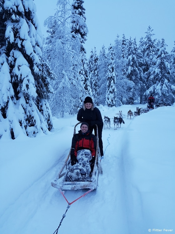 Together on a husky sledge ride, how romantic!