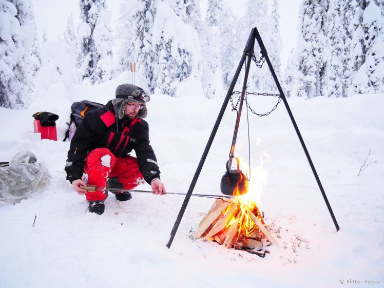 Making fire for lunch in the snow