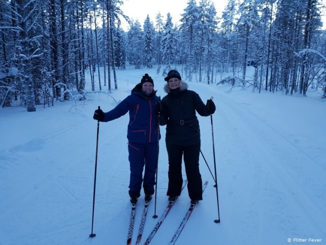 Me & local instructor Johanna at the cross-country skiing track in Levi