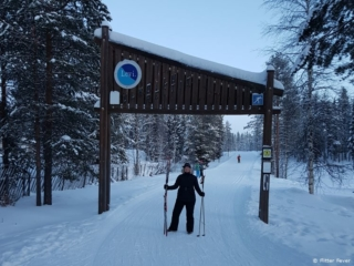 Start of the the cross-country skiing track in Levi, Lapland, Finland