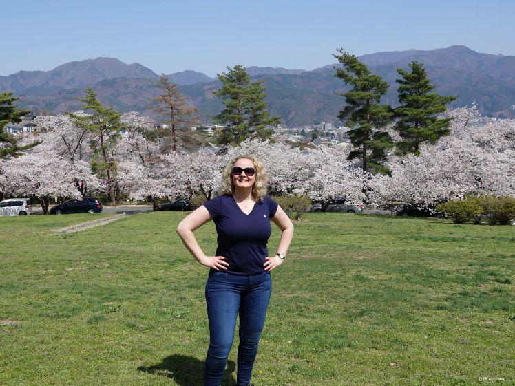 Uitzicht vanaf de heuvel @ Joyama Park Matsumoto kersenbloesembomen