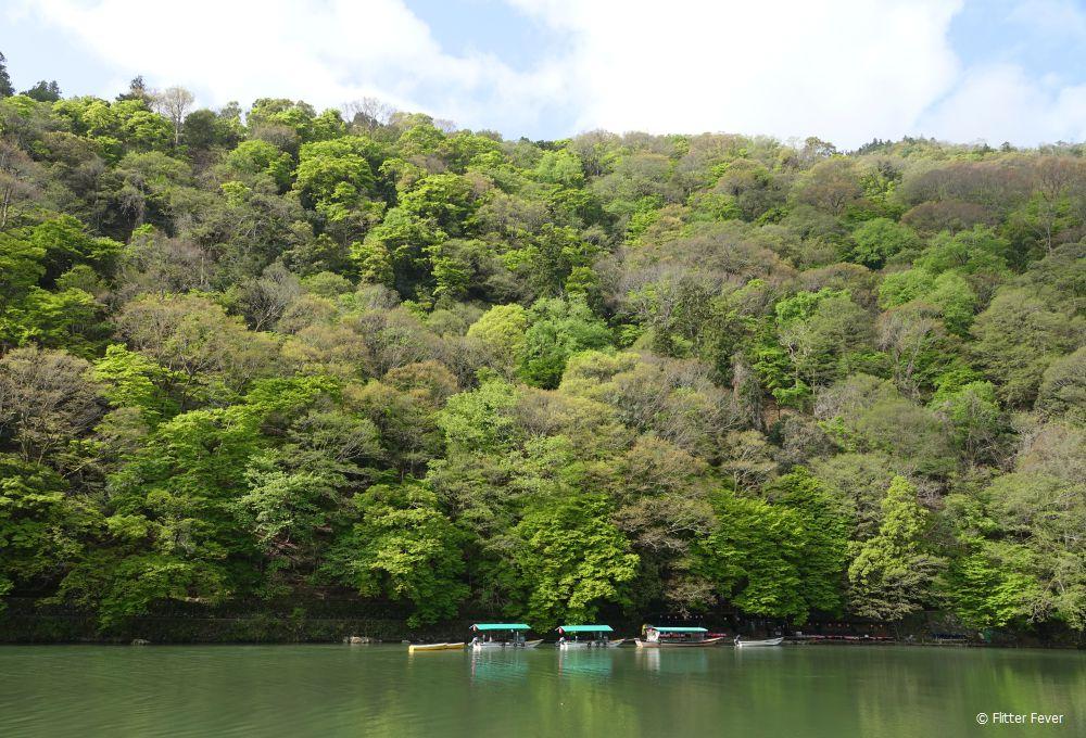 Boats in the Katsura River near Arashiyama bamboo forest