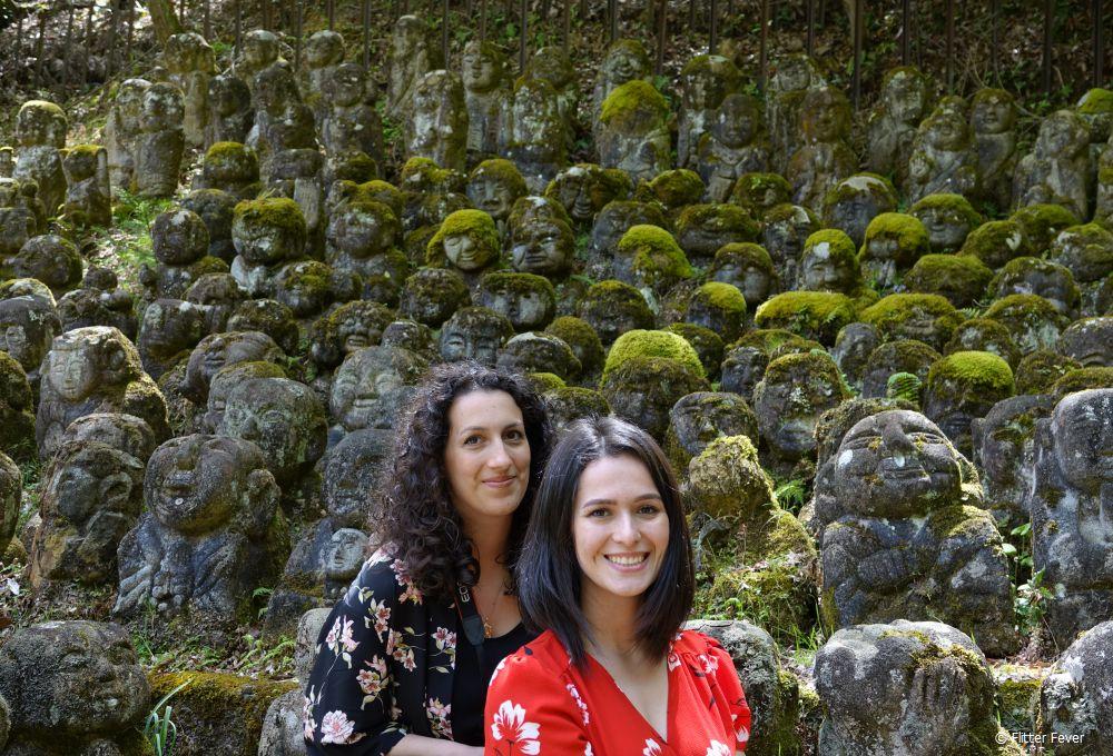 Sabrina and Chiraz at Otagi Nenbutsu-ji, near the Arashiyama bamboo forest, Kyoto