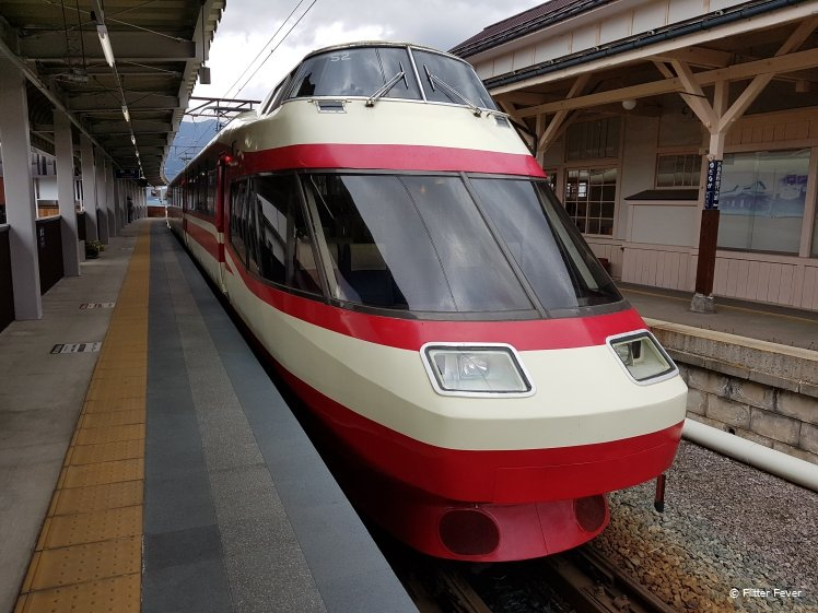 Red and white regional train Japan