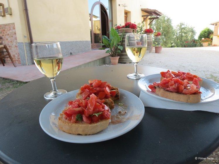 Bruschetta made during cooking class at Fattoria Poggio Alloro Tuscany