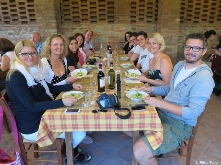 Meet people from all over the world during lunch or dinner at Fattorio Poggio Alloro agriturismo in Tuscany