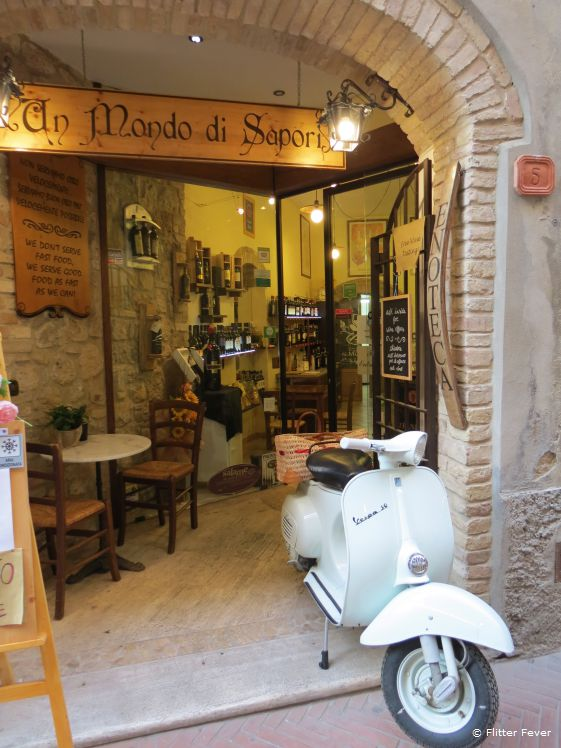 Typical Italian restaurants in the center of San Gimignano