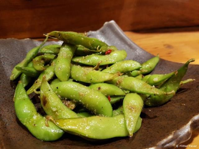Soy beans with garlic at Kushiyaki Bistro Fukumimi, Tokyo