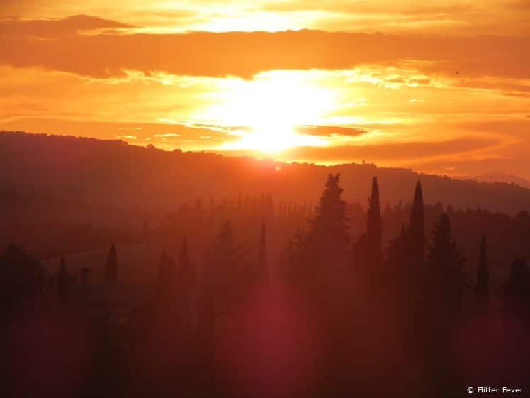 Sunset seen from Fattoria Poggio Alloro, Tuscany
