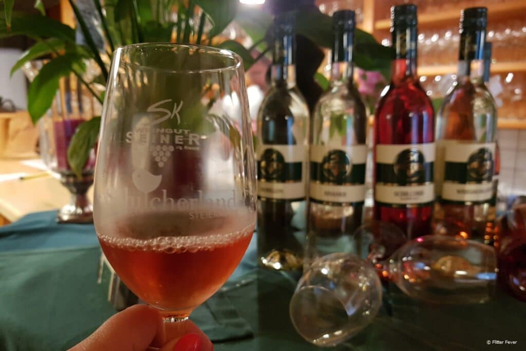 Tasting Schilcher rose wine at Weingut Seiner