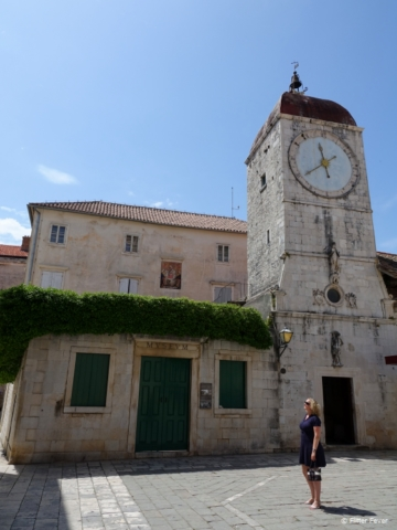 Trogir's Clock Tower, once part of St. Sebastian Church, at John Paul II Square (Trg Ivana Pavla II)