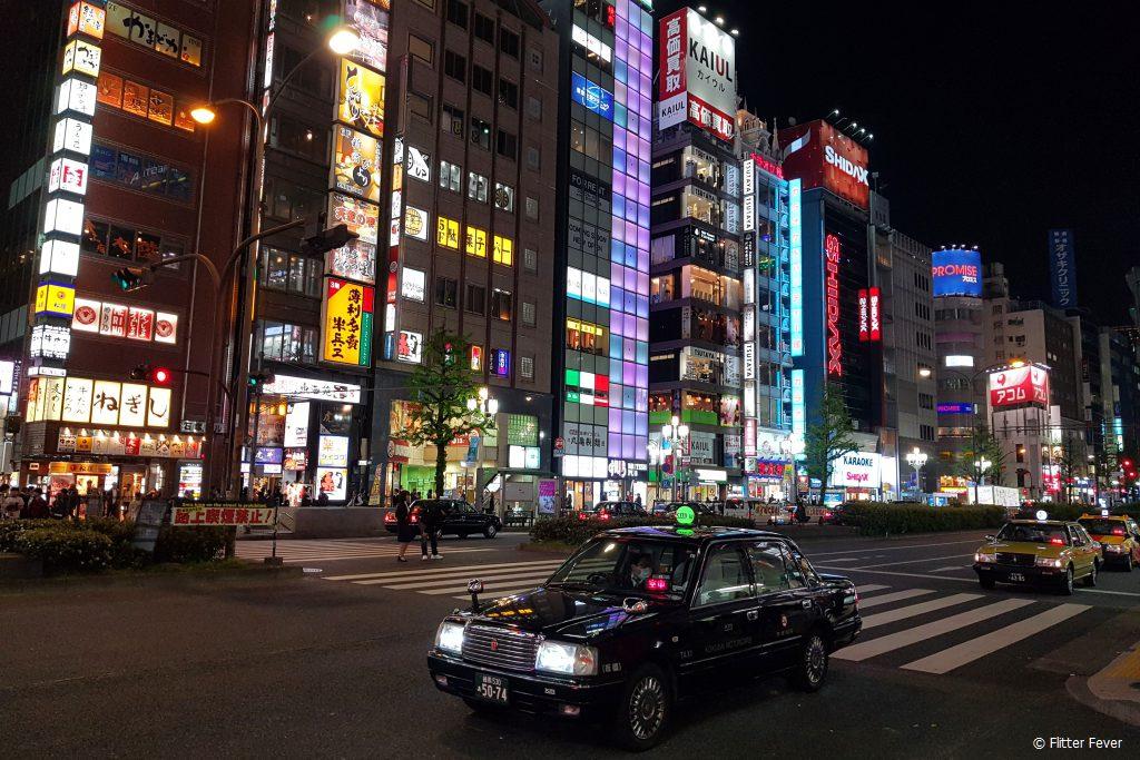 Shinjuku Street Tokyo taxi
