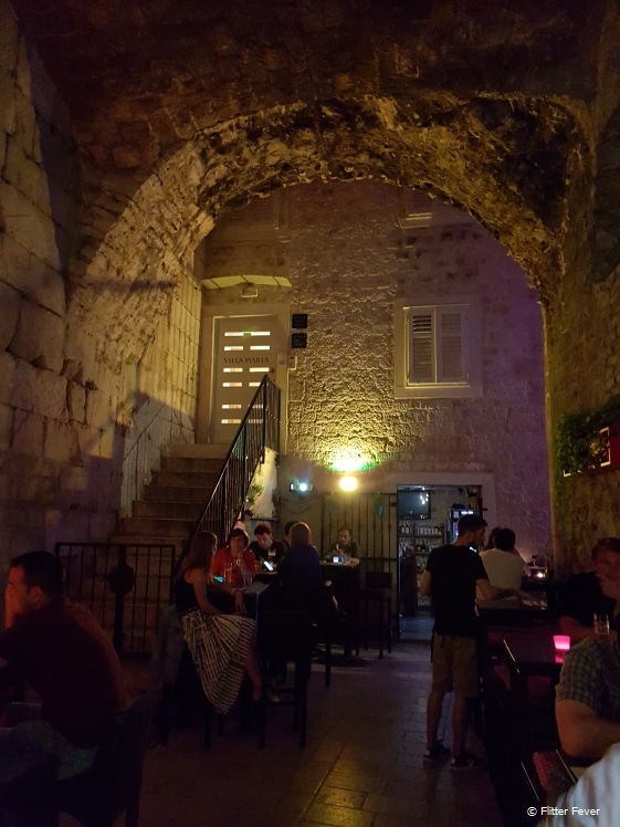 Split old town restaurants and bars in narrow streets and alleys