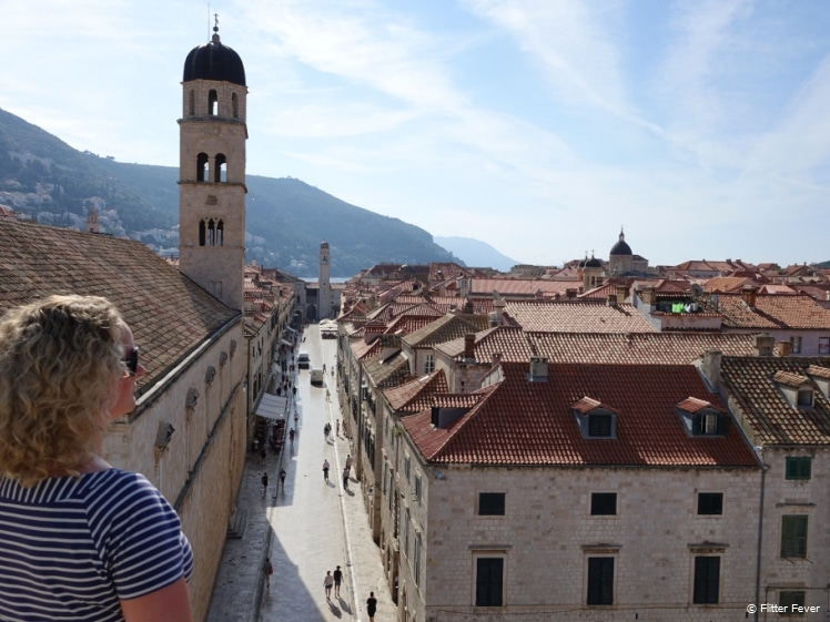 View from wall to Placa in Dubrovnik