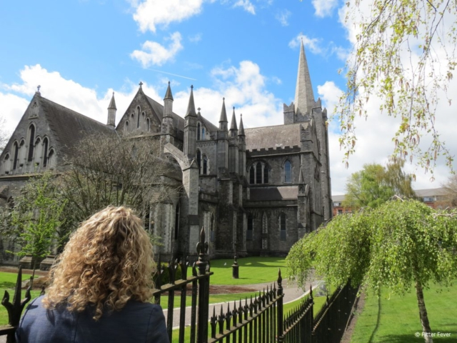 Admiring the pretty Saint Patrick's Cathedral in Dublin