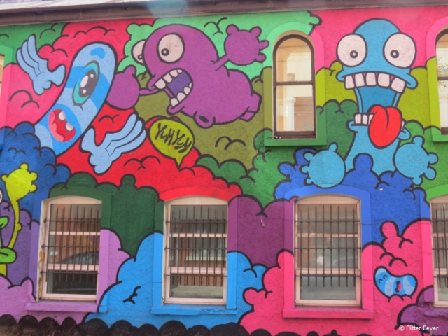 Colorful funny street art in Cork