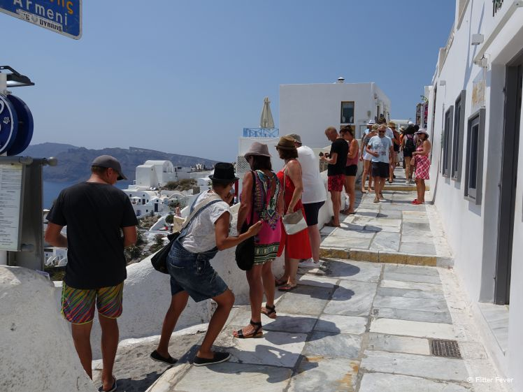 Crowds on Armeni path in Oia, Santorini