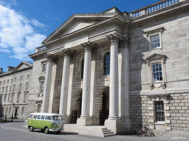 Cute retro VW bus at Trinity College in Dublin