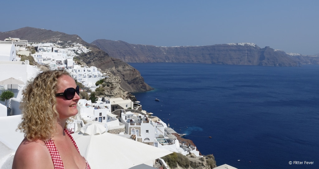 It's hot and sweaty in August, but what's not to love about Santorini?
