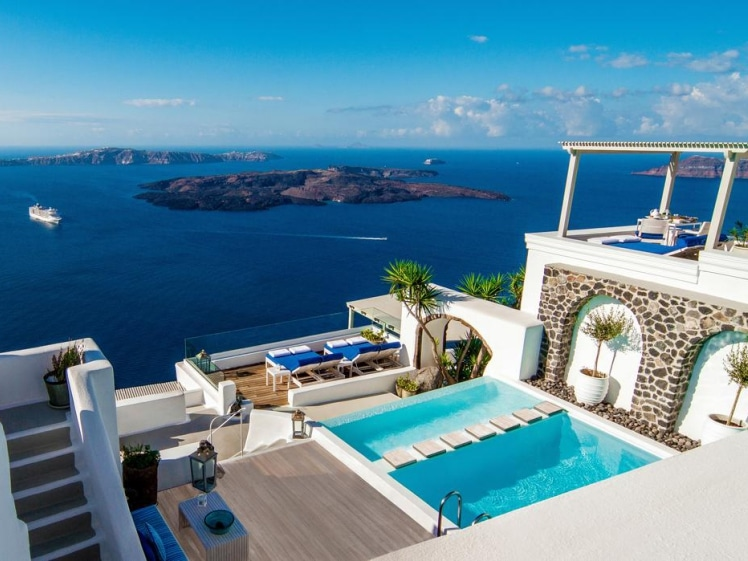 Wow that roof top terrace view @ Iconic Santorini, a Boutique Cave Hotel