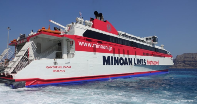 Minoan Lines ferry in Santorini port