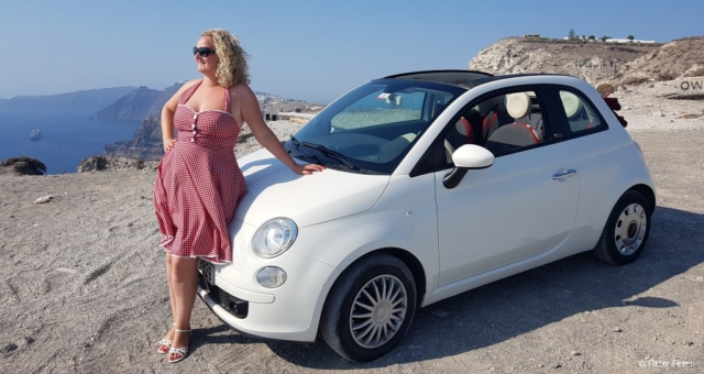 Loved driving around Santorini in our cute Fiat 500C