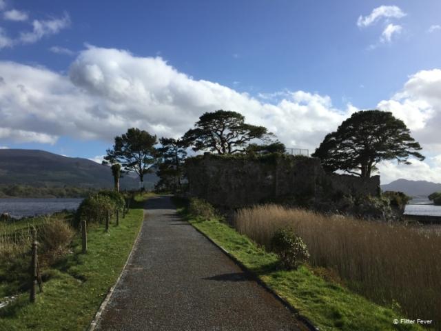 Ruin and blue sky at Lough Leane, Killarney